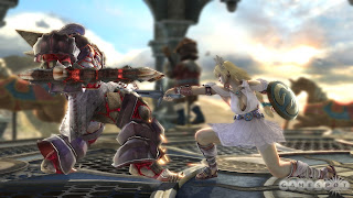 Sophitia kicking butt against Astaroth (Andrew's fav); image from Gamespot.com