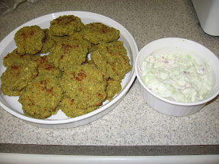 Baked Falafel from Kalyn's Kitchen and Greek tzatziki sauce