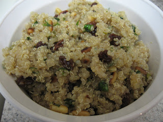 scented quinoa pilaf with raisins, pine nuts, and cilantro, adapted from Wholefood by Jude Blereau