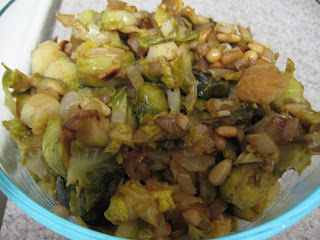 shredded brussels sprouts with balsamic vinegar and pine nuts, adapted from Vegetables Every Day by Jack Bishop