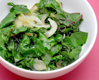 recipe for sauteed swiss chard leaves and roasted chard stalks with butter and parmesan