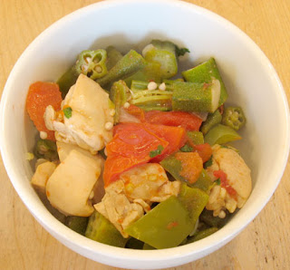Okra, chicken, and tomato saute, adapted from Food Blogga
