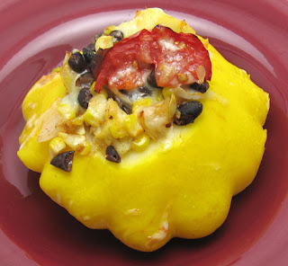 recipe for corn, black bean, and tomato stuffed pattypan squash