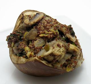 recipe for quinoa and mushroom stuffed eggplant