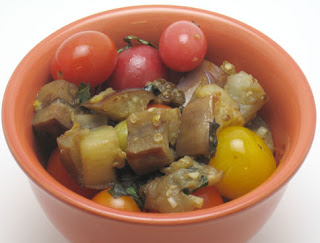 Eggplant and cherry tomato saute recipe, adapted from Vegetarian Planet