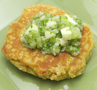 masa cakes with salsa verde, adapted from Vegetarian Planet by Didi Emmons