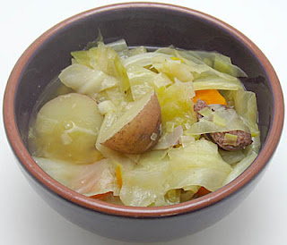 cabbage, potato, and sausage soup, adapted from Karina's Kitchen