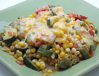 corn, okra, zucchini, and tomato saute