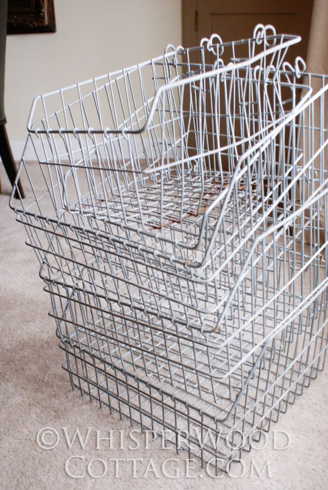 WhisperWood Cottage: Vertical Storage with Vintage Wire Baskets & an ...