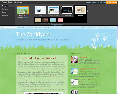 fasilitas template designer di blogger