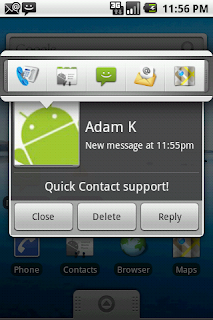 SMS Popup with Quick Contact