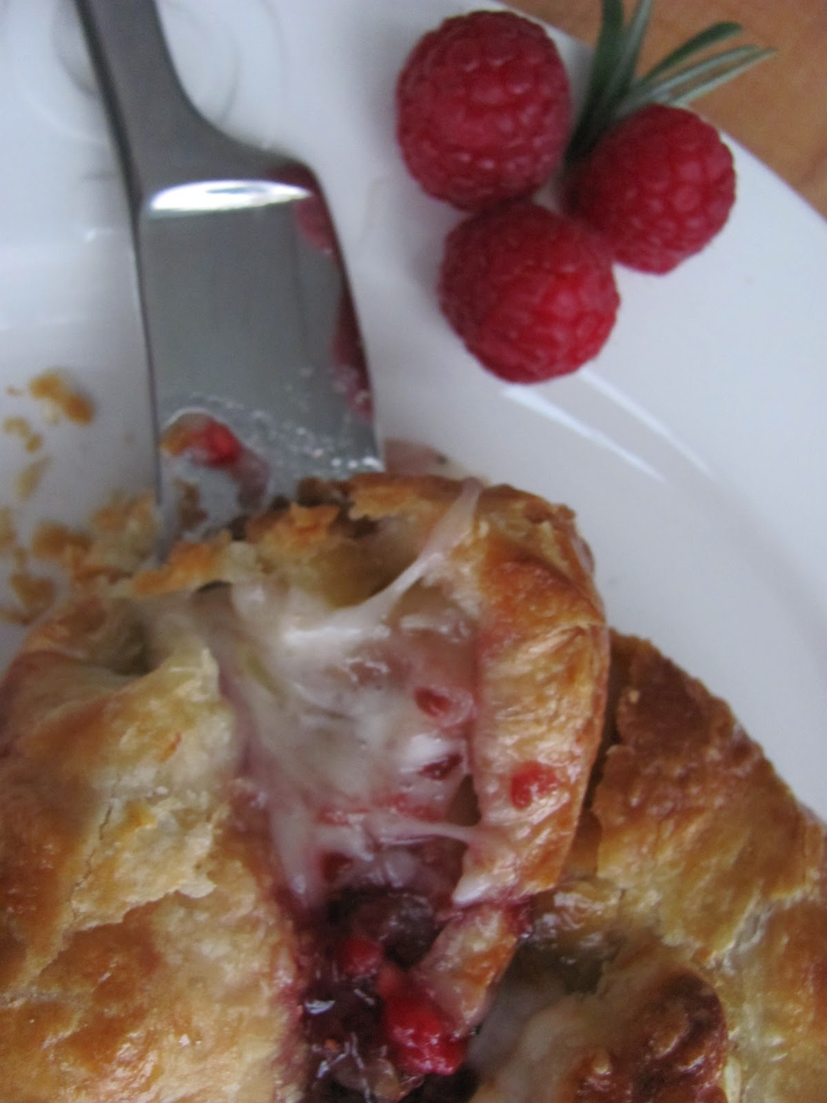 Baked Brie with Raspberries …adapted from Bon Appetit