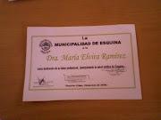 La Municipalidad de Esquina a la Dra.Marìa Elvira Ramìrez Barrios