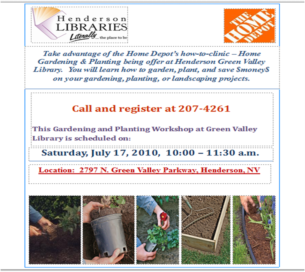 Henderson Libraries Home Depot 39 S Gardening Planting