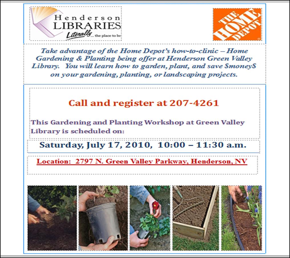 Henderson Libraries Home Depot 39 S Gardening Planting Workshop