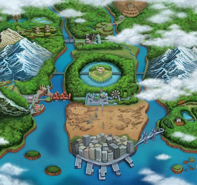 Pokemon Black and White Versions Artwork - Isshu Map