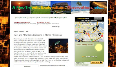 screenshot of a few travels explorations and observations blog found at http://www.travels-explorations.blogspot.com