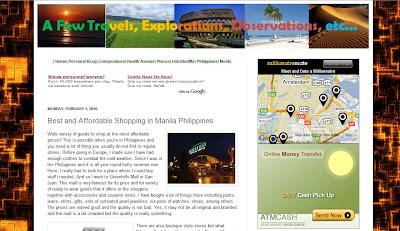 screenshot of a few travels explorations and observations blog found at http://www.travels-explorations.blogspot.com