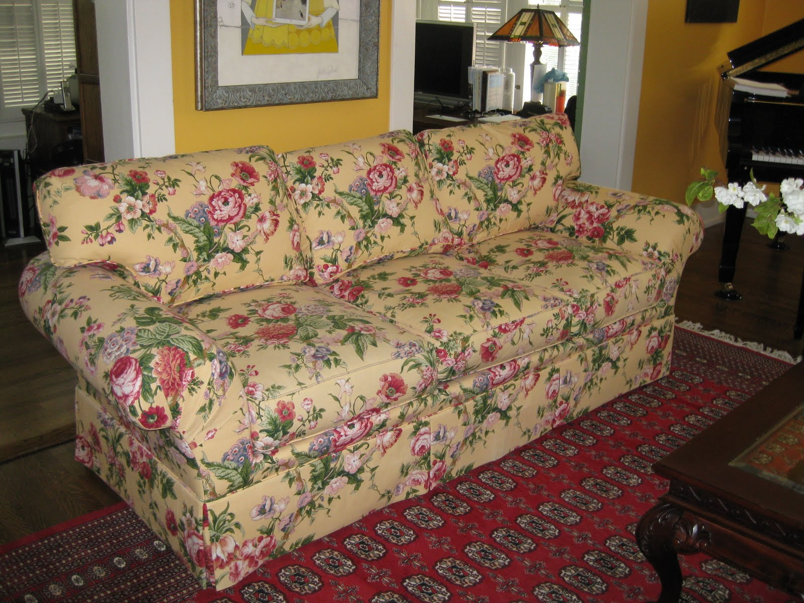and i nerd back chairs while a couch that floral this blue the did so before remember tree sewing