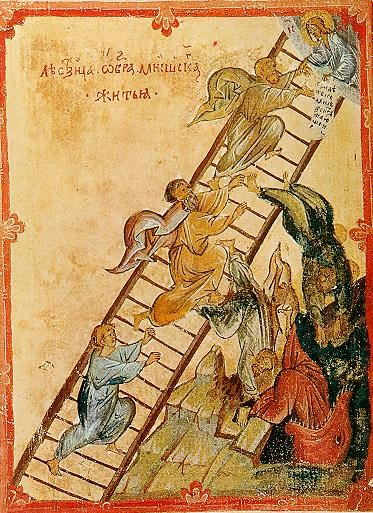 "Ladder to ""Christian moral perfection"" with Christ pulling souls into heaven by wrist grip."