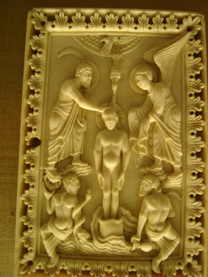 Baptism of Christ hand of Father angel with garments
