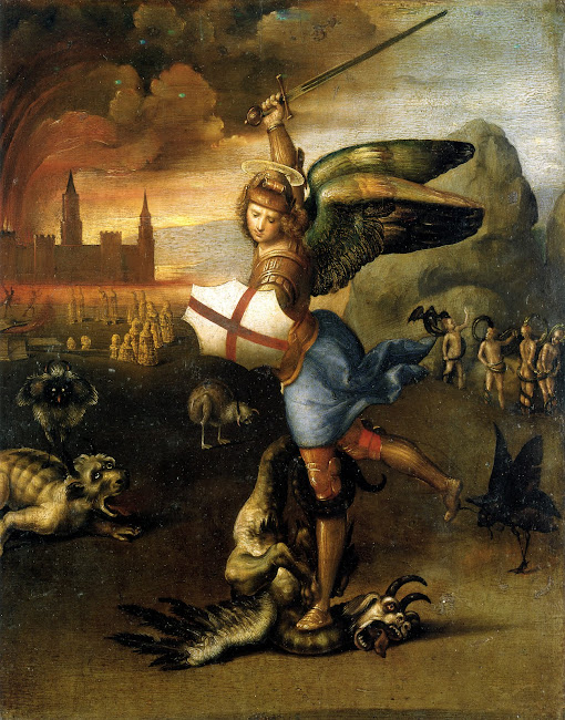 Michael defeats the Dragon- Raphael 1503-05 AD Paris- Musee du Louvre
