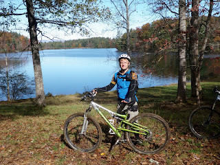 Kevin with mountain bike in Dupont State Forest, North Carolina