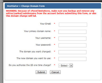 how to change primary domain name on hostgator