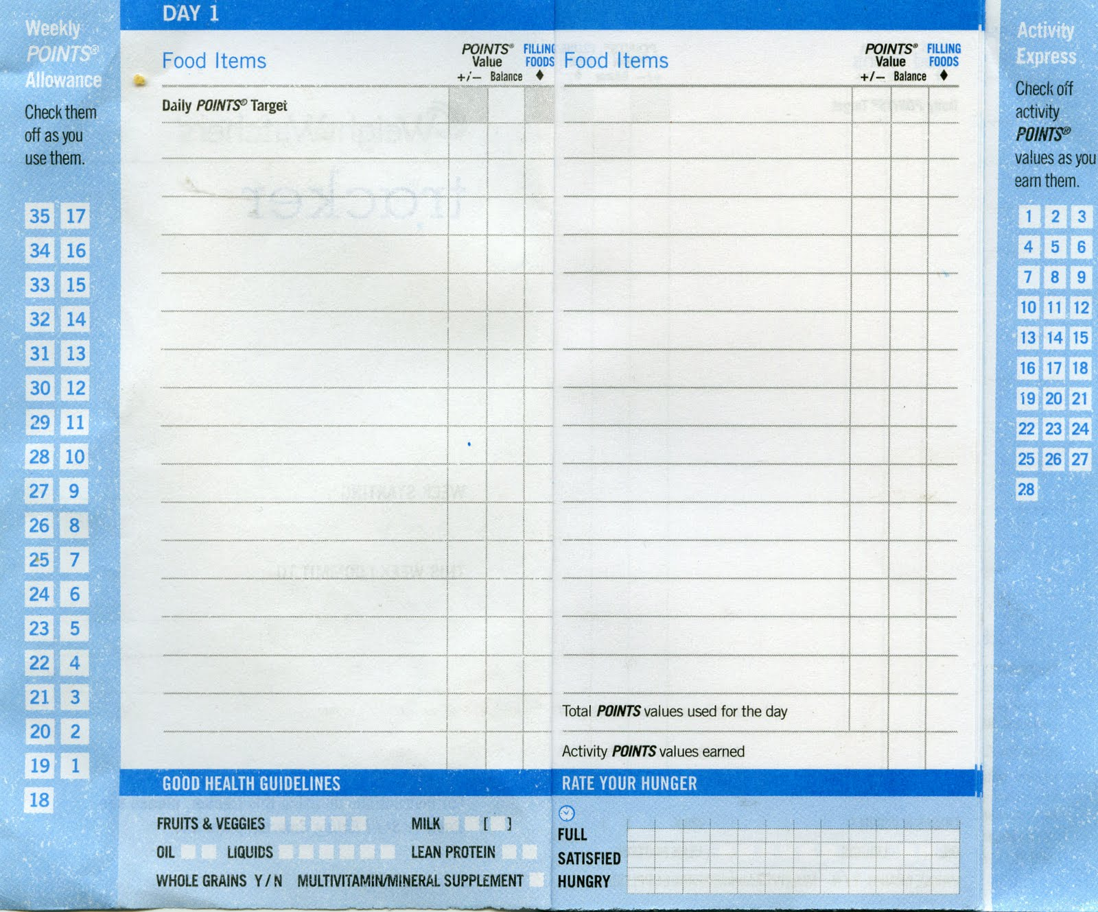 Weight Watchers Food Tracking Sheets http://aletha4.blogspot.com/2010/08/weight-watchers-tracker-log-with-2.html
