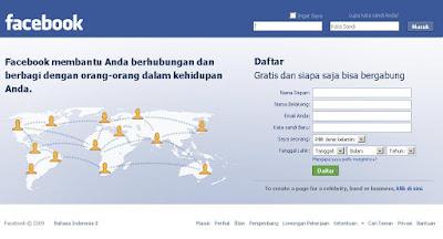 Gambar tampilan halaman depan Facebook