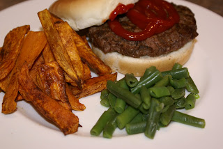 Hamburgers with Sweet Potato Fries