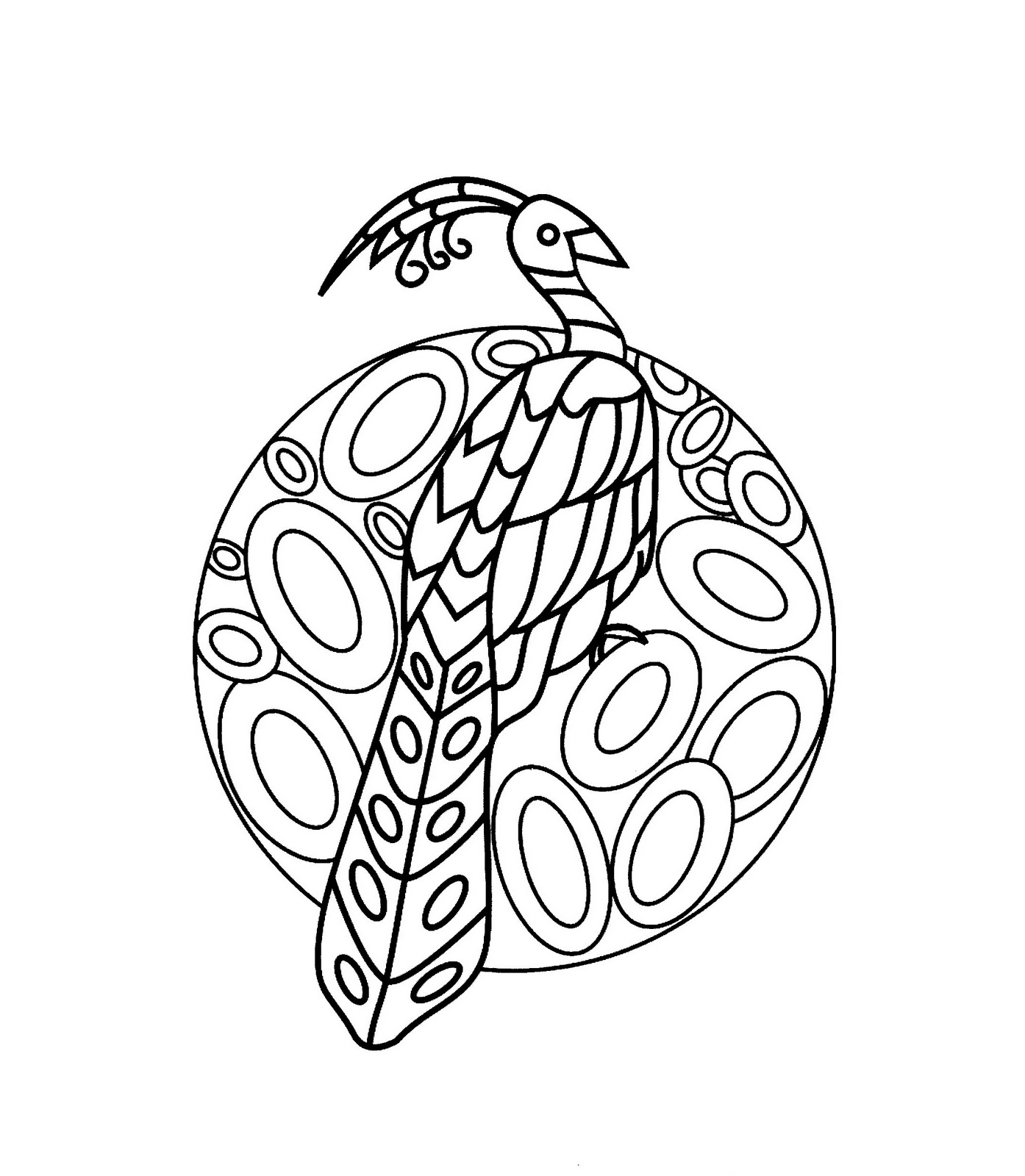 Mandalas Para Pintar: Mandala con pavo real