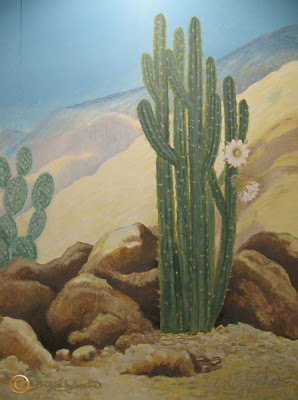 North East artist Ingrid Sylvestre Cactus Mural detail University of Durham Botanic Garden Ingrid Sylvestre North East mural artist Durham UK