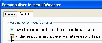 capture d'écran Windows XP - personnaliser le menu Démarrer