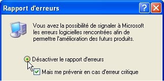 capture d'écran Windows XP - rapport d'erreurs