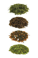 Here you can see our delicious Japanese green teas such as Kukicha, Hojicha, Genmaicha without Matcha, and Genmaicha with Matcha