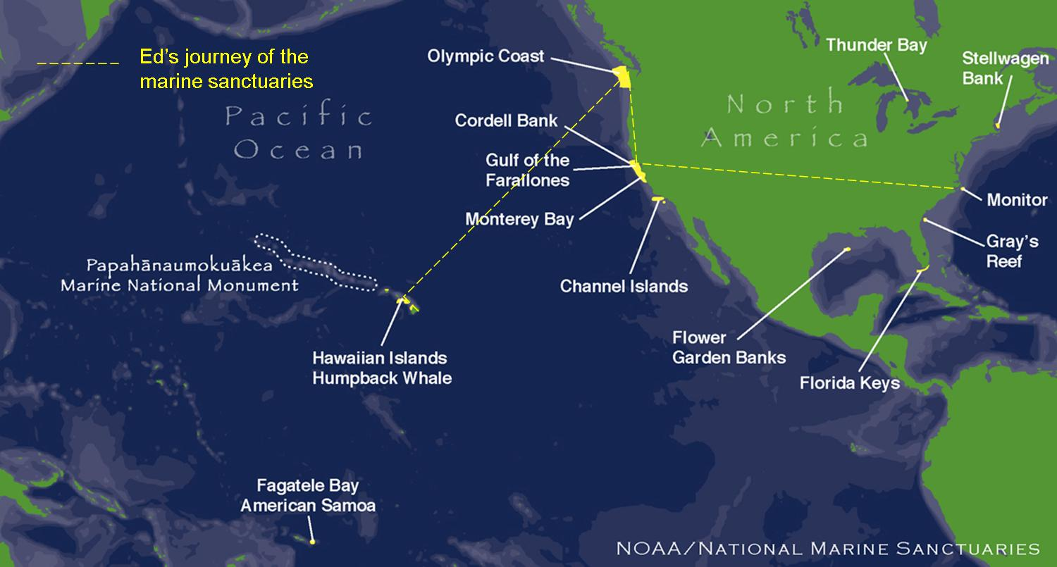 Adventures of ed the bear papahanaumokuakea marine national map showing all of the national marine sanctuaries some i have visited some i have yet to visit the yellow trail shows eds travels thrpugh the gumiabroncs