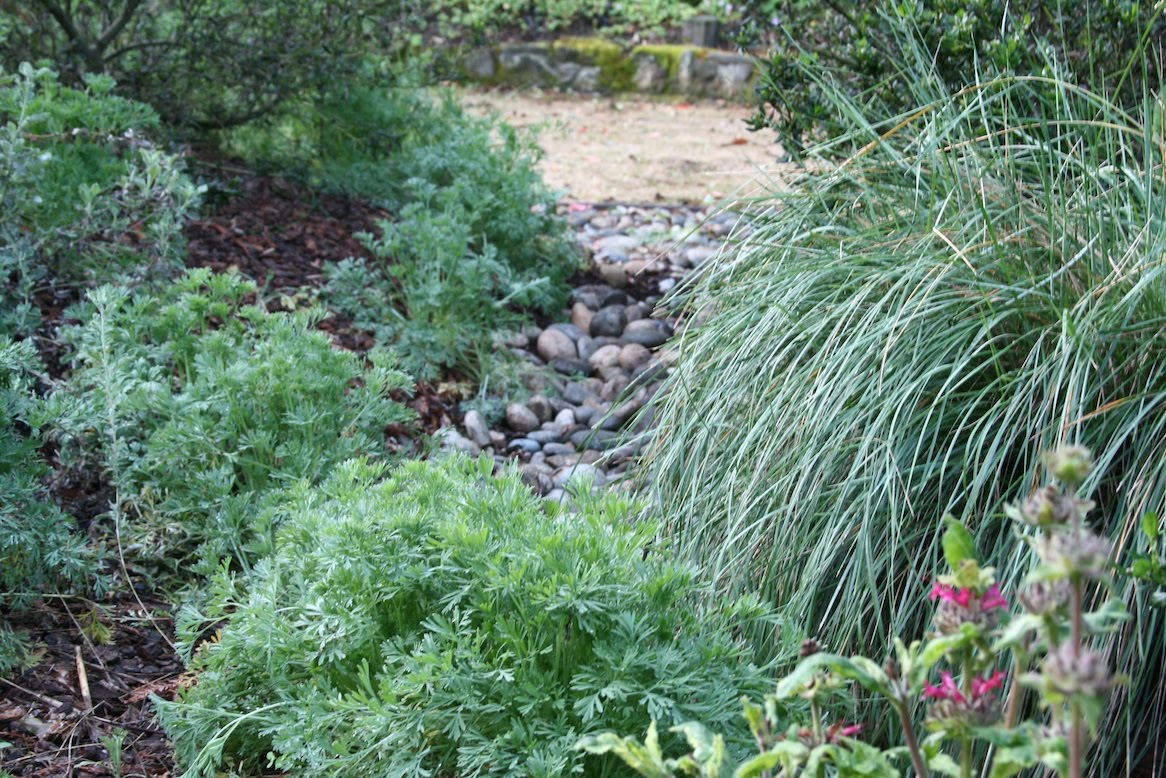 Can you explain the whole dry creek thing to me? Garden Design Dry Stream Bridge on gully garden, wooden deck garden, dry stream landscape,