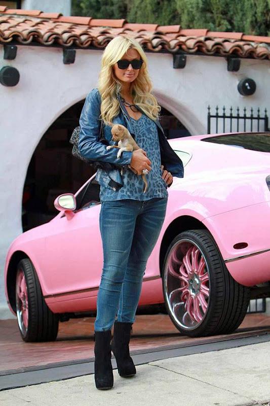 Paris Hilton  Shows us Her Little Puppy amp Pink Car navel show
