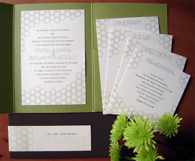 Their invitation is mounted inside of an apple green holder with contrasting