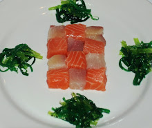 Yellowtail and Salmon checkered sashimi