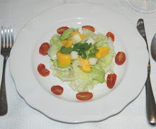 Iceberg Lettuce  with mangoes, grape tomatoes and  macintosh apples