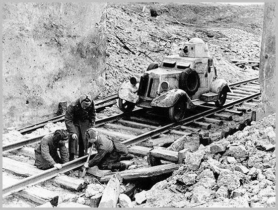 October end 1943: russian military engineers repair a rail track