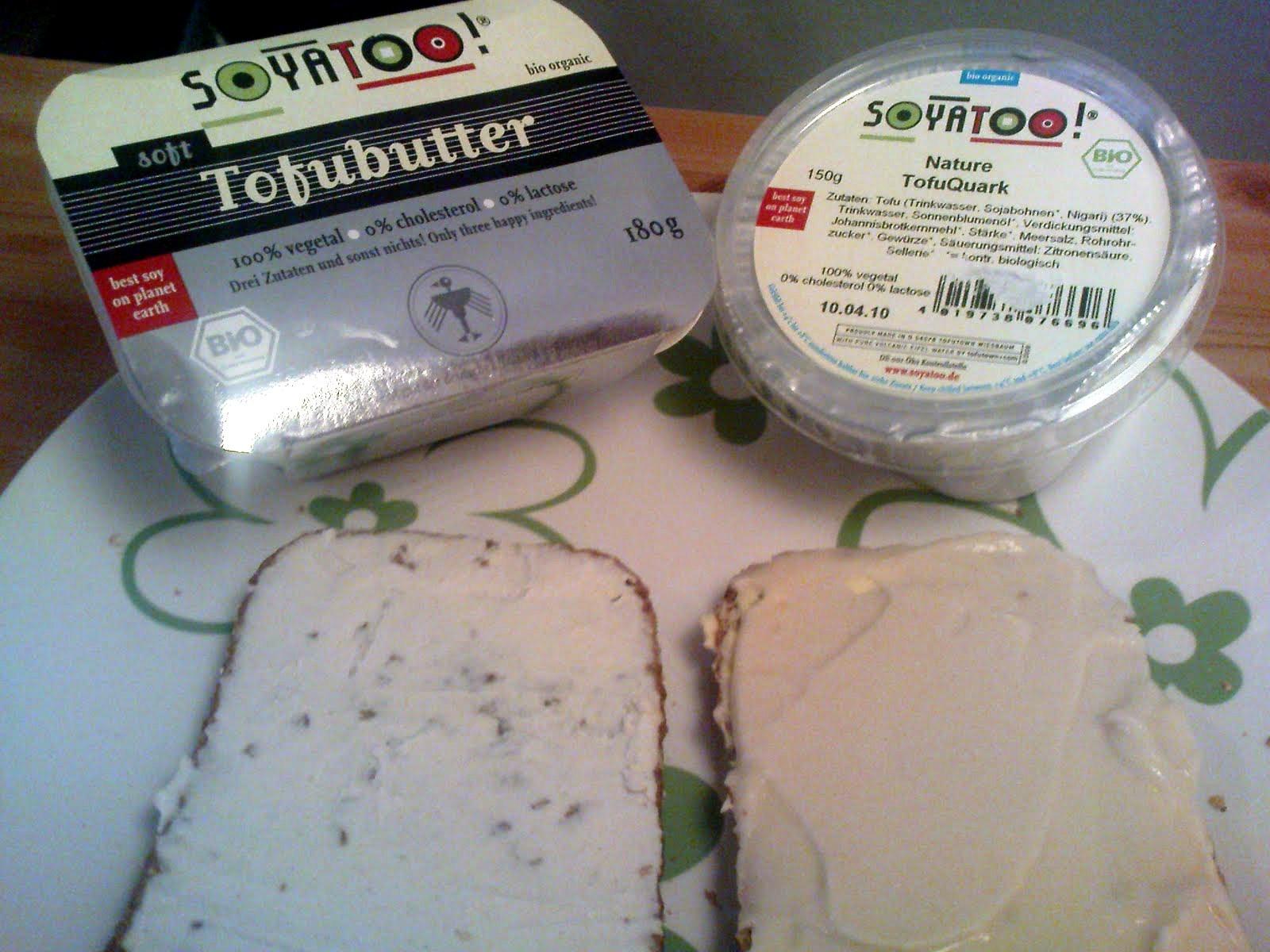 soyatoo tofuquark nature und tofubutter berfl ssig vegane rezepte auf laubfresser. Black Bedroom Furniture Sets. Home Design Ideas