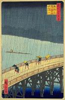 Hiroshige - Tormenta en el puente Oshashi