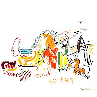 Dibujo de Joni Mitchell para el álbum 'So Far', de Crosby, Stills, Nash & Young, 1974
