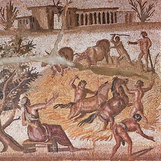 Escena agrícola en un mosaico romano