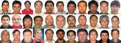 Los 33 mineros atrapados en la mina San José