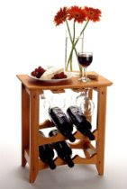 Casual Style Honey Pine Finish Compact Wine Rack