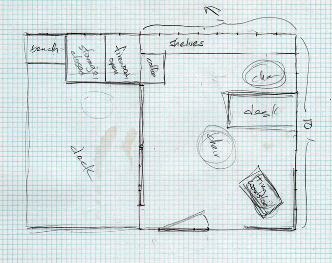 This was the original floor plan, when it was 8 x 10 in my mind
